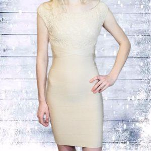 Bebe Lace Bandage Body-Con fitted Sleeveless Dress